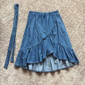 Girls Zara Denim Wrap Skirt Size 8